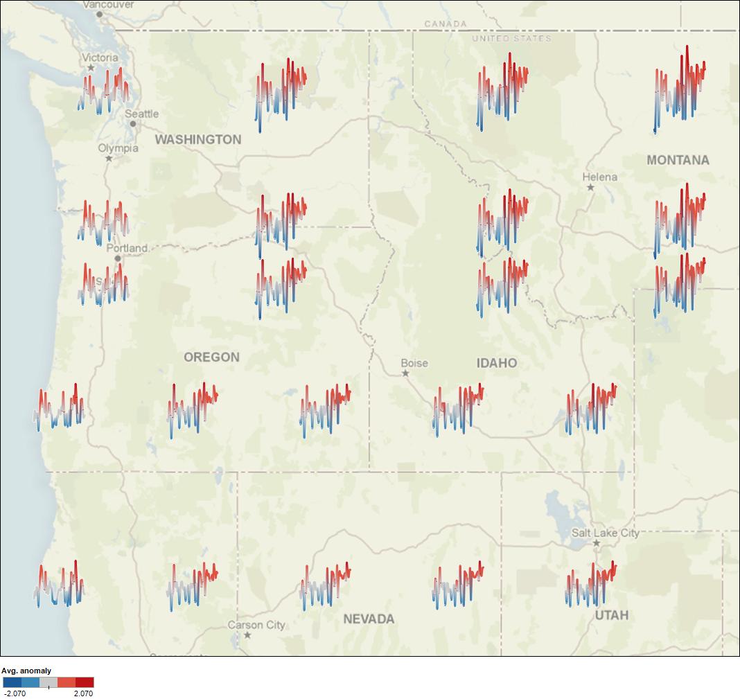 US Northwest Temperature Anomaly Sparklines