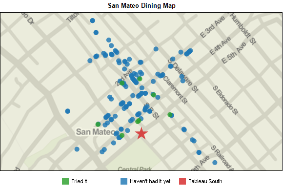 Restaurants around Tableau South office.